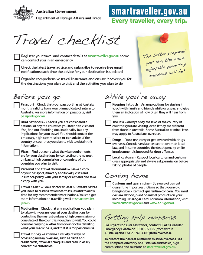 McNally Travel | DFAT Travel Checklist